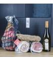 Geschenkbox mit der Hälfte von San Daniele Rohschinken, Salami, Speck, Lende und Weißwein